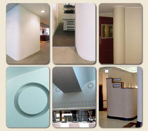 Curved commercial interior walls by Roundy